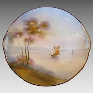 Japanese Nippon Cake Plate Hand Painted Sailboat Scene c 1911