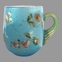 English Webb Cased Blue Art Glass Mug Cup w Mica & Enameled Flowers c 1870