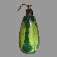 French Cameo Art Glass Scent Perfume Bottle (Cologne)  w Unusual Yellow Green w Wear c 1910