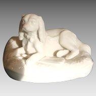 Irish Belleek Parian Dog Canine Figure Spaniel on Cushion 6th Mark c 1965 - 1980