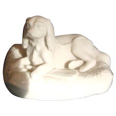 Irish Belleek Parian Dog Canine Figure Spaniel on Cushion 6th Mark c 1965 - 1980