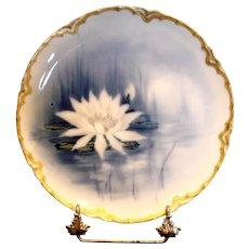 French Haviland Limoges Cobalt Feu de Four Plate Factory Artist Signed Nenuphar Water Lily Flower c 1883 - 1885