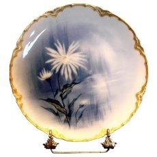 French Haviland Limoges Cobalt Feu de Four Plate Factory Artist Signed Doronique Yellow Perennial Flower c 1883 - 1885