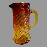 "American Locke New England Amberina Art Glass Pitcher 9 3/8"" Pale Amber to Deep Cranberry Ruby Red Spiral Lobes Gold Painted Leaves c 1885"