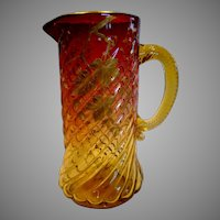 """American Locke New England Amberina Art Glass Pitcher 9 3/8"""" Pale Amber to Deep Cranberry Ruby Red Spiral Lobes Gold Painted Leaves c 1885"""