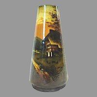 "German Pottery 10"" Vase Hand Painted Rural Scene of Farm, Trees & Woods c 1900"