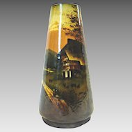 "German Pottery 10"" Vase Hand Painted Rural Scene of Farm, Trees & Woods c 1900"