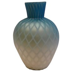 English Shaded Blue Satin MOP Art Glass Vase Diamond Air Trap Cased c 1885