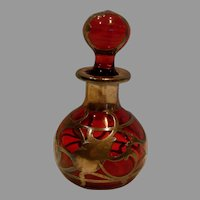 American Cranberry Art Glass Scent Perfume Bottle (Cologne) w Sterling Silver Overlay c 1880
