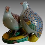 Japanese Kutani Figural Group Two Quail Birds on Corn c 1900