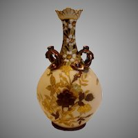 French Limoges Vase Hand Painted Studio Decorated Gold Raised Flowers Leaves c 1891 - 1932