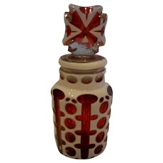 Bohemian Art Glass Perfume Bottle White Overlay Cut to Clear Over Ruby Red Cranberry c 1890