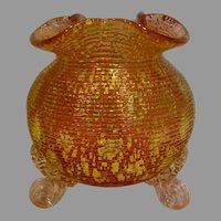 English Thomas Webb Unusual Art Glass Footed Rose Bowl Vase Mica Between Cranberry & Amber c 1895