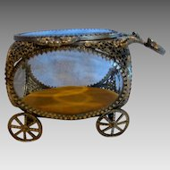American Jewelry Casket Box Carriage Gold Plated Beveled Glass c 1950
