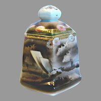 Japanese Nippon Hexagon Humidor Jar Lid Hand Painted Sail Boat Ship in Stormy Sea Scene c 1910