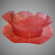 American Sandwich Boston Threaded Art Glass Bowl w Saucer Cranberry Threads Over Clear c 1880