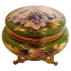 French White Opaline Art Glass Brass Mounted Box w Exceptional Hand Painted Pansies c 1880