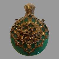 French Chatelaine Scent Perfume Bottle Green Opaline Art Glass w Bronze Metal Lovebird Filigree c 1860