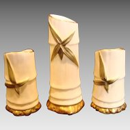 English Royal Worcester Set 3 Bamboo Sticks Shape for Pen Holders or Nosegays Shape 1049 c 1897 - 1901