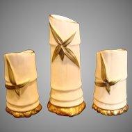 English Royal Worcester Set 3 Bamboo Sticks Shape for Pen Holders or Nosegays Shape 1049 c 1897 - 1901
