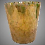 """Bohemian Czech Kralik 6"""" Art Glass Bucket Vase Iridescent Mottled Spatter Colors Signed c 1930"""