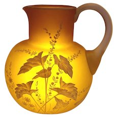 American Phoenix Satin Art Glass Jug Pitcher Unusual Yellow Green Brown Citrine Color Hand Enameled White Bird Foliage c 1890