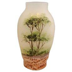 "French Tiny Miniature 2"" Art Glass Vase Satin White Opaline Hand Enameled c 1900"