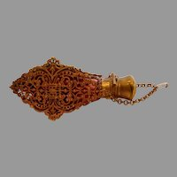 French Scent Perfume Bottle Art Glass Chatelaine Cranberry w Filigree Ormolu c 1860