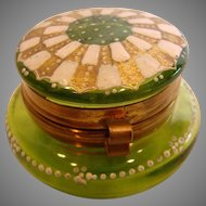 French Small Green Art Glass Patch Box w Hand Enameled Top Gold & White c 1890