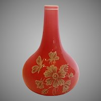 Bohemian Czech Harrach Small Art Glass Bud Vase Pink Cased Hand Enameled Flying Insect Dragonfly Flowers c 1890