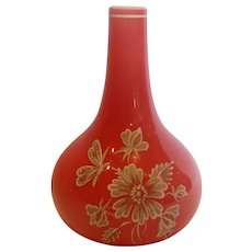 Bohemian Harrach Small Art Glass Bud Vase Pink Cased Hand Enameled Flying Insect Dragonfly Flowers c 1890