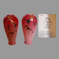 "Bohemian Czech Harrach Pair 6"" Pink Cased Art Glass Vases w Hand Enameled Dragonflies Signed c 1880"