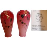 """Bohemian Harrach Pair 6"""" Pink Cased Art Glass Vases w Hand Enameled Dragonflies Signed c 1880"""