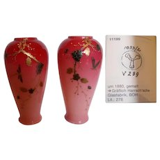 "Bohemian Harrach Pair 6"" Pink Cased Art Glass Vases w Hand Enameled Dragonflies Signed c 1880"