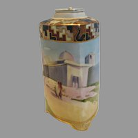 Japanese Nippon Tea Caddy Jar Three Sides Hand Painted Egyptian Scene c 1910