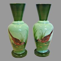 """French Pair Green Opaline 8.75"""" Art Glass Vases Hand Painted Game Bird Scenes c 1880"""