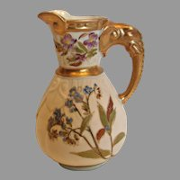 English Royal Worcester Elephant Handle Jug Pitcher Hand Painted Flowers c 1874