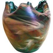 "Bohemian Rindskopf 6"" Art Glass Vase Turned Rim Swirled Colors Iridescent c 1900"