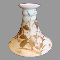 English Webb White Opaline Art Glass Vase Hand Painted Enameled Gold Leaves Satin Matte Finish c 1875