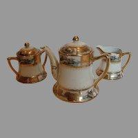 Japanese Nippon Tea Set Teapot Sugar Creamer Hand Painted Landscape Scenes c 1910