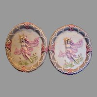 """German Dresden Volkstedt Pair Large 17 ¾"""" Porcelain Oval Hanging Plaques w Dimensional Bare Breasted Nude Females c 1900"""