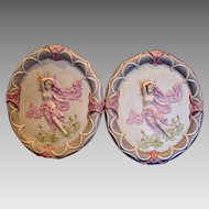 """French Pair Large 17 ¾"""" Porcelain Oval Hanging Plaques w Dimensional Bare Breasted Nude Females c 1930"""