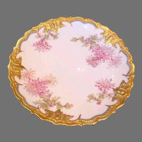 "French Limoges Large 14"" Charger Gold & Flowers Dahlias c 1900 - 1920"