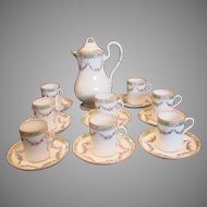 English Royal Worcester Chocolate Set Pot with 8 Cups & Saucers Hand Painted Small Pink Roses & Blue Daisies c 1912-1913