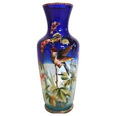 Bohemian Shaded Blue Clear Art Glass Vase Enameled Bird c 1880