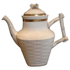 French Limoges Large Teapot or Coffee Pot Basket Weave w Twig Handle Finial White & Gold c 1875