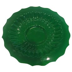 "Chinese Jade Green Peking Art Glass Lobed 12 ½"" Plate or Shallow Bowl Signed c 1890"