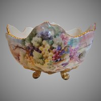 French Limoges Footed Centerpiece or Eggnog Punch Bowl Studio Artist Hand Painted Grapes c 1892 - 1907