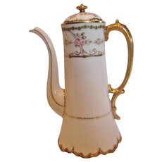 French Limoges Tall Coffee or Teapot Pot Small Pink Roses Graceful Spout Ornate Handle c 1900 - 1914