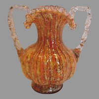 English Art Glass Vase Pink Spatter w Mica Clear Handles c 1890